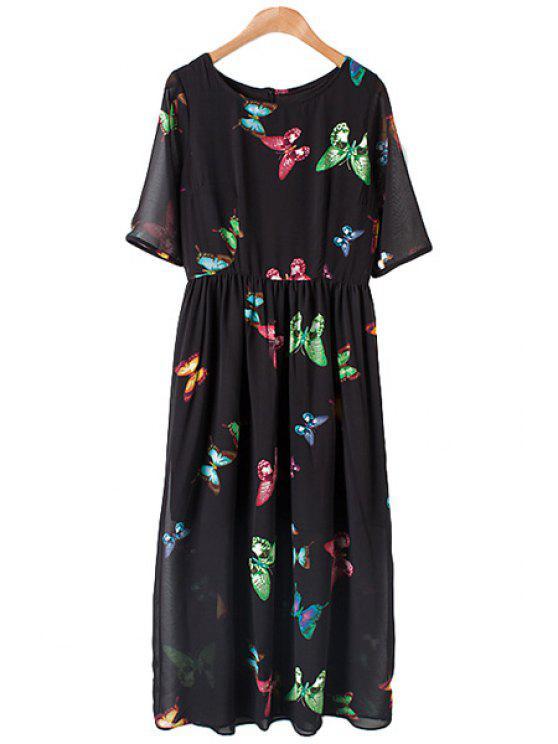 unique Jewel Neck Colorful Butterfly Print Dress - BLACK M