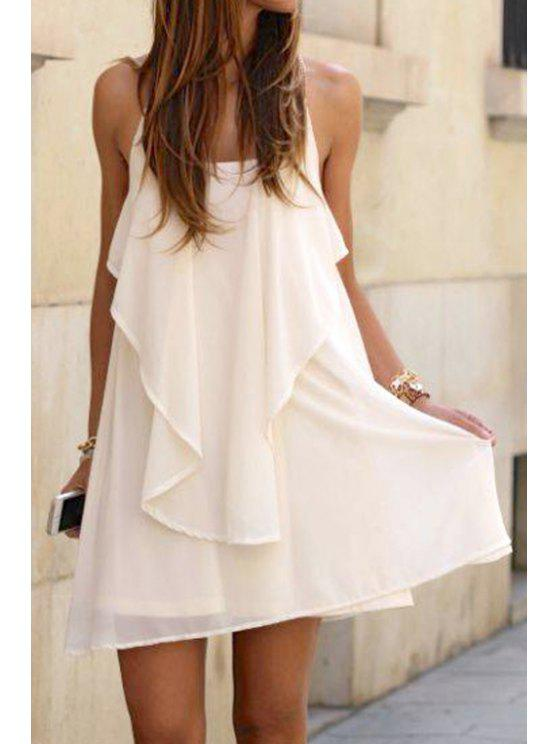 buy White Ruffle Spaghetti Strap Dress - WHITE S