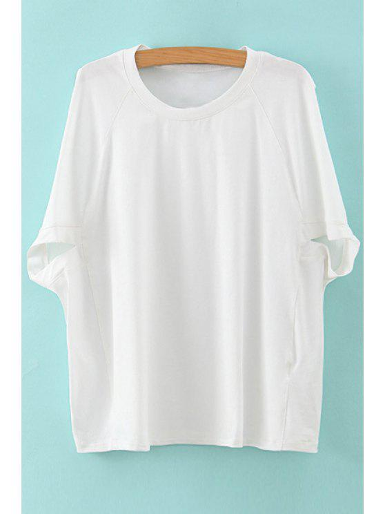 lady Solid Color Batwing Sleeve T-Shirt - WHITE ONE SIZE(FIT SIZE XS TO M)