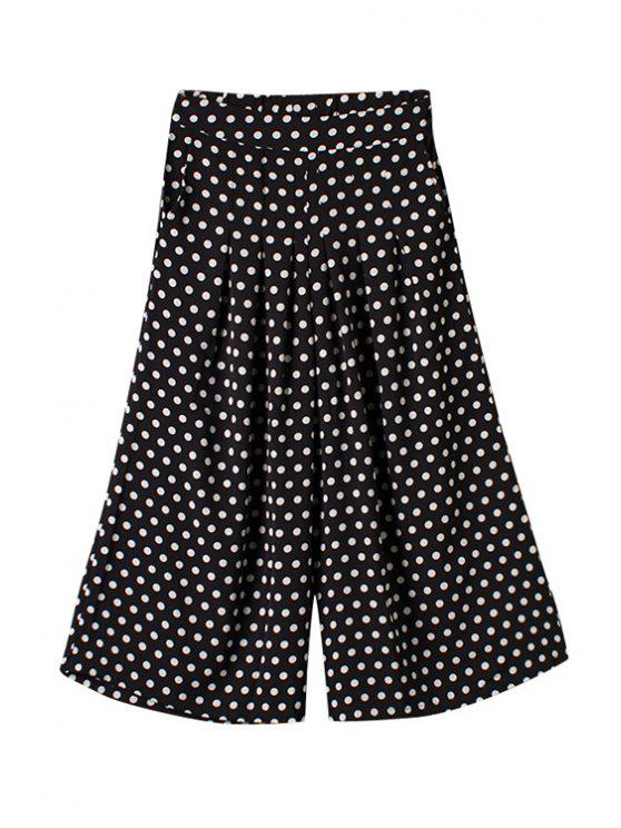 women's Polka Dot Loose Elastic Waist Pants - BLACK ONE SIZE(FIT SIZE XS TO M)