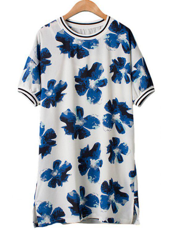 new Floral Print Slit Dress + Solid Color Tank Top - BLUE AND WHITE M
