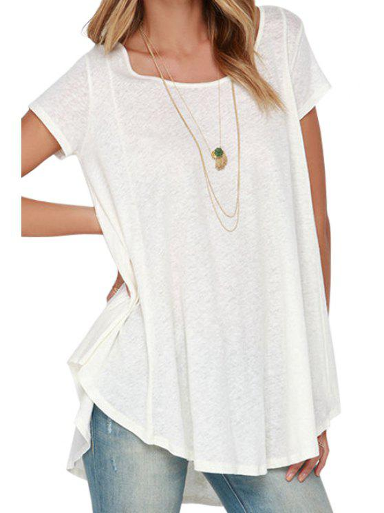 shops White With Lace High Low Short Sleeve T-shirt - WHITE S
