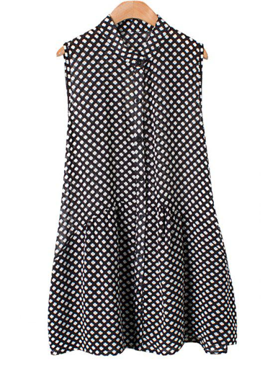 shops Stand-Up Collar Clover Print Dress - WHITE AND BLACK S