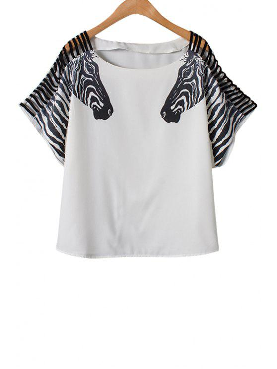 outfit Zebra Print Openwork Short Sleeve T-Shirt - WHITE S