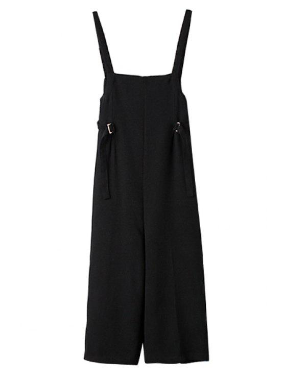 ladies Solid Color Loose-Fitting Overall - BLACK S