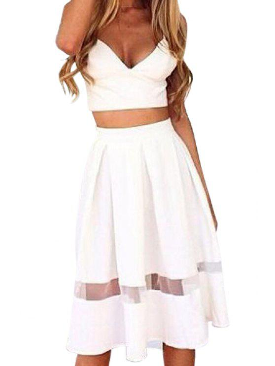 online Crop Top and Voile Spliced Skirt Suit - WHITE L