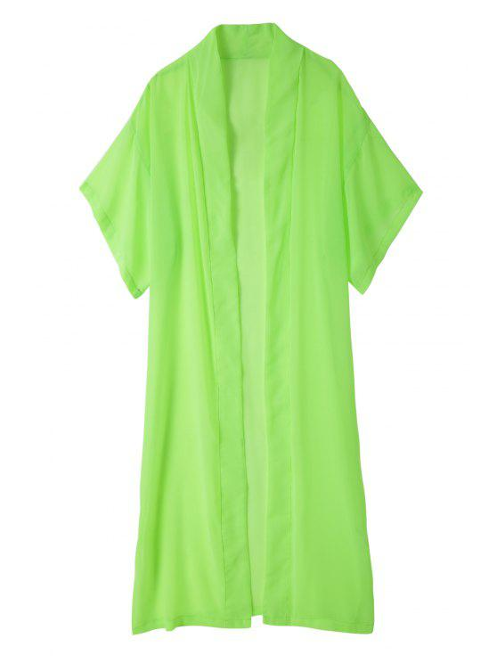trendy Solid Color Duster Coat - GREEN M