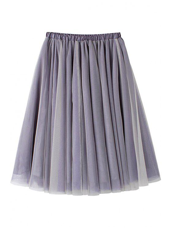 fashion Ruffle Voile Elastic Waist Skirt - PURPLE ONE SIZE(FIT SIZE XS TO M)