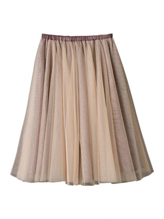 unique Ruffle Voile Elastic Waist Skirt - COFFEE ONE SIZE(FIT SIZE XS TO M)