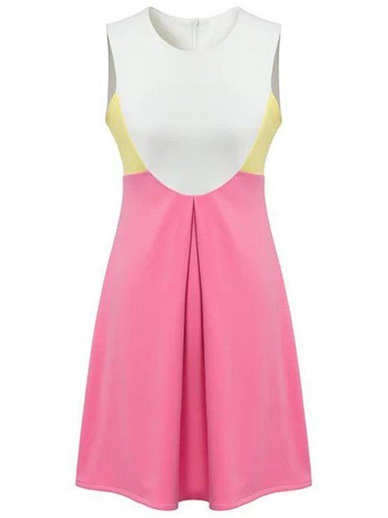 shops Round Neck Color Block Sundress - ROSE S