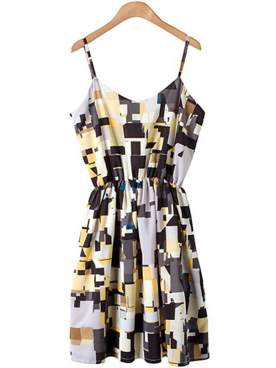 buy Spaghetti Strap Geometric Print Dress - COLORMIX S