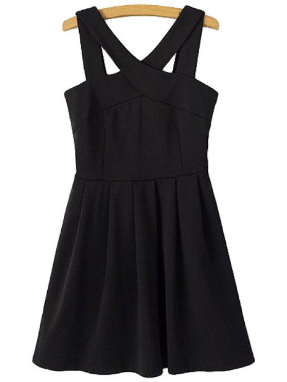 affordable Solid Color V-Neck Sleeveless Dress - BLACK M