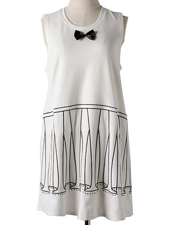 fancy Bowknot Stripe Sleeveless Dress - WHITE ONE SIZE(FIT SIZE XS TO M)