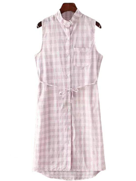 best Plaid Stand Neck Sleeveless Dress - PINK ONE SIZE(FIT SIZE XS TO M)