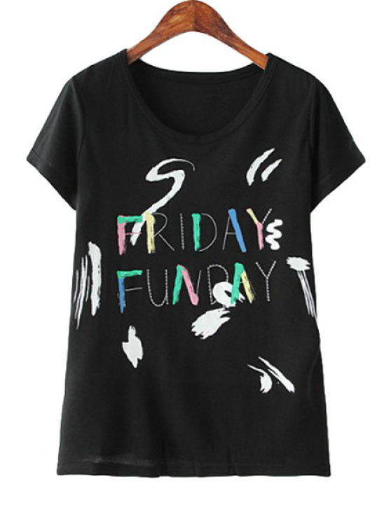 fancy Colorful Letter Print Short Sleeve T-Shirt - BLACK S