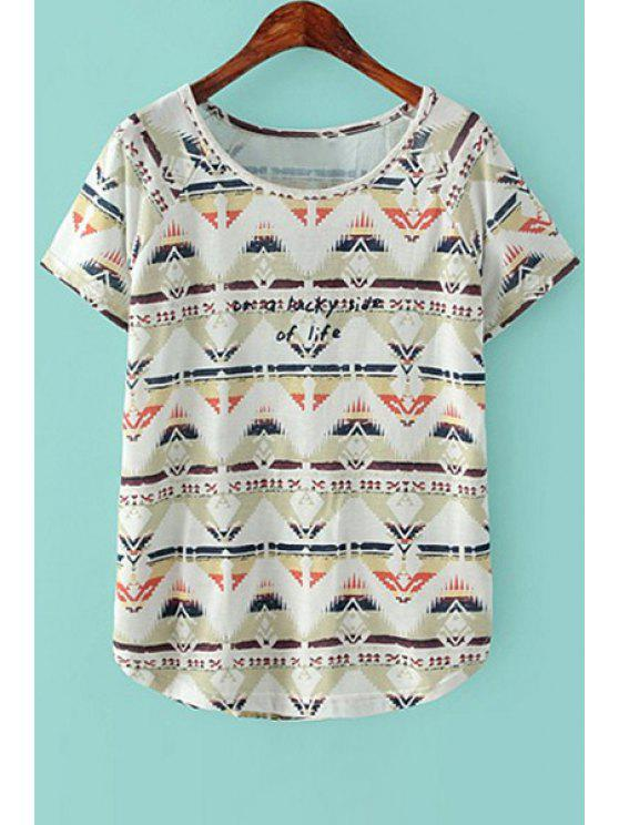 affordable Short Sleeve Colorful Print T-Shirt - FLAX GREEN S