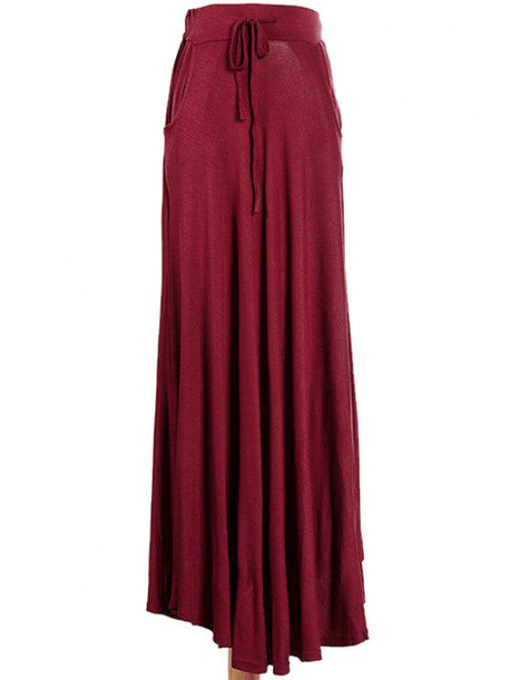 affordable Solid Color Tie-Up Ruffle Long Skirt - WINE RED ONE SIZE(FIT SIZE XS TO M)