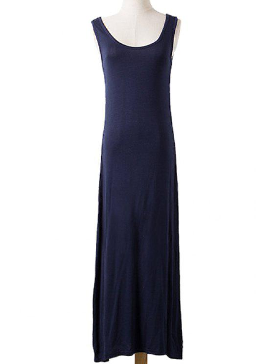 outfit Scoop Neck Solid Color Sleeveless Maxi Dress - CADETBLUE ONE SIZE(FIT SIZE XS TO M)