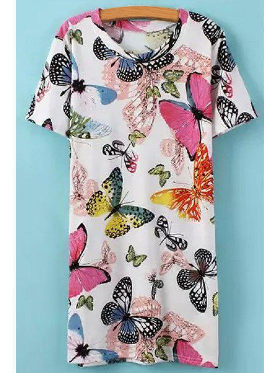 outfits Full Butterfly Print Short Sleeves T-Shirt - COLORMIX ONE SIZE(FIT SIZE XS TO M)