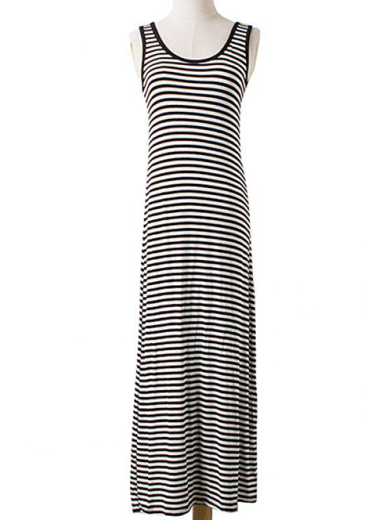 shop Scoop Neck Stripe Sleeveless Maxi Dress - WHITE AND BLACK ONE SIZE(FIT SIZE XS TO M)