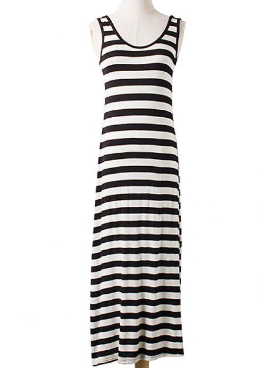 latest Stripe Scoop Neck Sleeveless Maxi Dress - WHITE AND BLACK ONE SIZE(FIT SIZE XS TO M)
