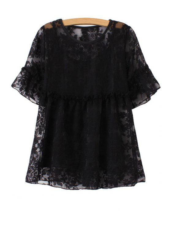 women's Short Sleeve Lace Blouse with Tank Top Twinset - BLACK ONE SIZE(FIT SIZE XS TO M)