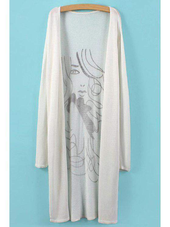 shop Figure Print Long Sleeve Cardigan - WHITE ONE SIZE(FIT SIZE XS TO M)