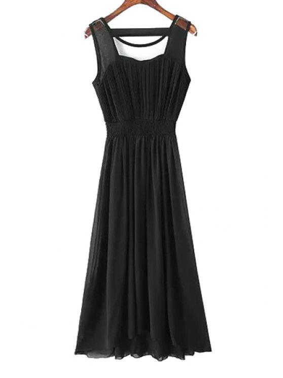 sale Voile Pleated Spliced Chiffon Sundress - BLACK ONE SIZE(FIT SIZE XS TO M)