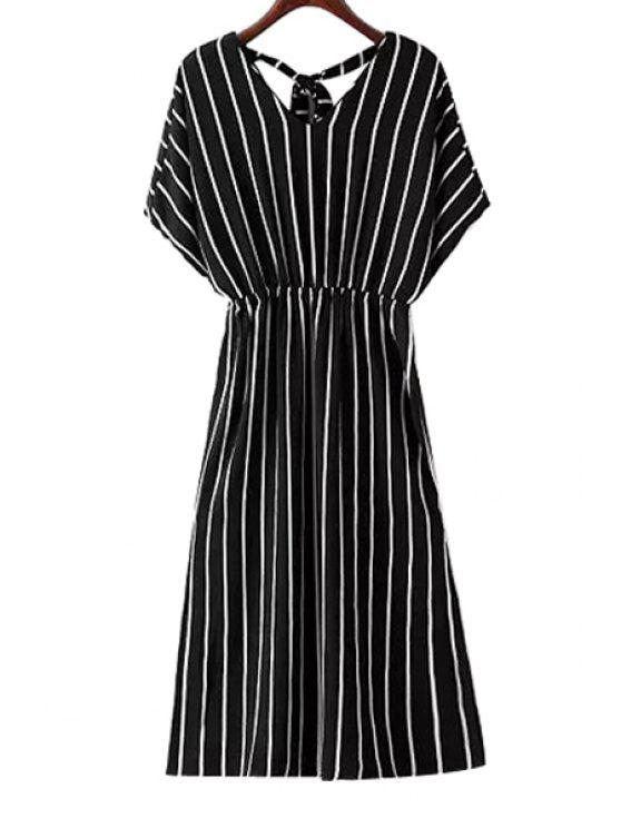 trendy Stripe V-Neck Short Sleeve Dress - BLACK S