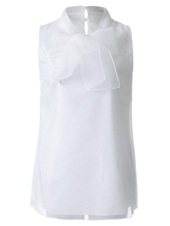 outfit Bowknot Solid Color Sleeveless T-Shirt - OFF-WHITE S