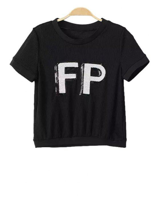 chic Letter Sequin Openwork Short Sleeve T-Shirt - BLACK S