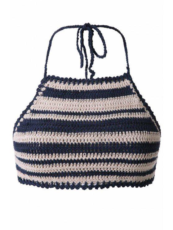 shop Striped Halter Crochet Crop Top - STRIPE ONE SIZE(FIT SIZE XS TO M)