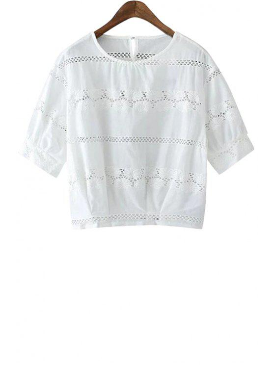 online Floral Embroidery Short Sleeves Blouse - WHITE S