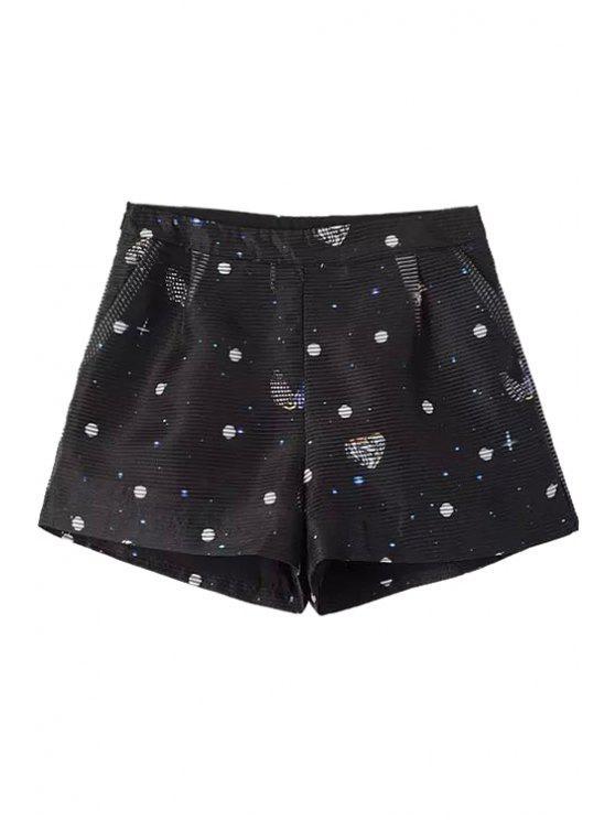 outfits Polka Dot Stripe Shorts - BLACK S