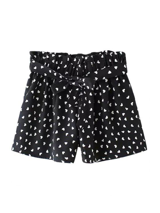 lady Heart Print Elastic Waisted Shorts - BLACK L