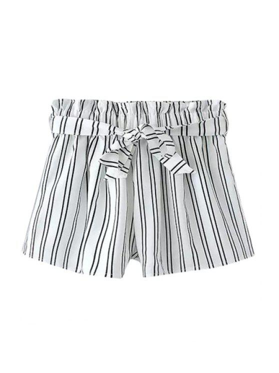 best Stripe Elastic Waist Shorts - WHITE M