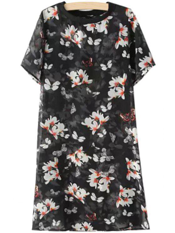 womens White Floral Print Dress - BLACK S
