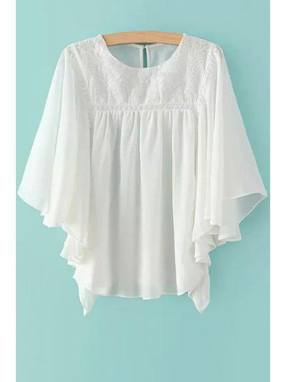 womens Solid Color Embroidery Half Sleeve Blouse - WHITE M