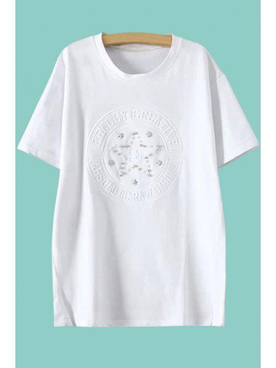 ladies Star Pattern Faux Pearl T-Shirt - WHITE M