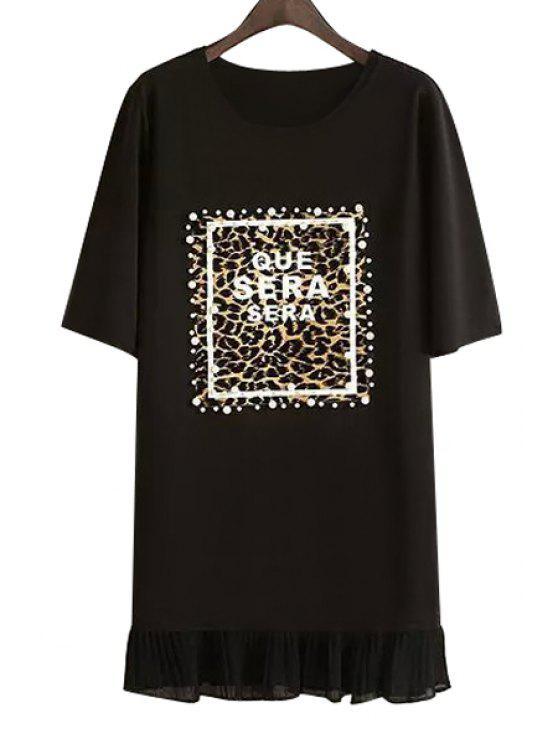 new Letter Print Beaded Ruffles Dress - BLACK M