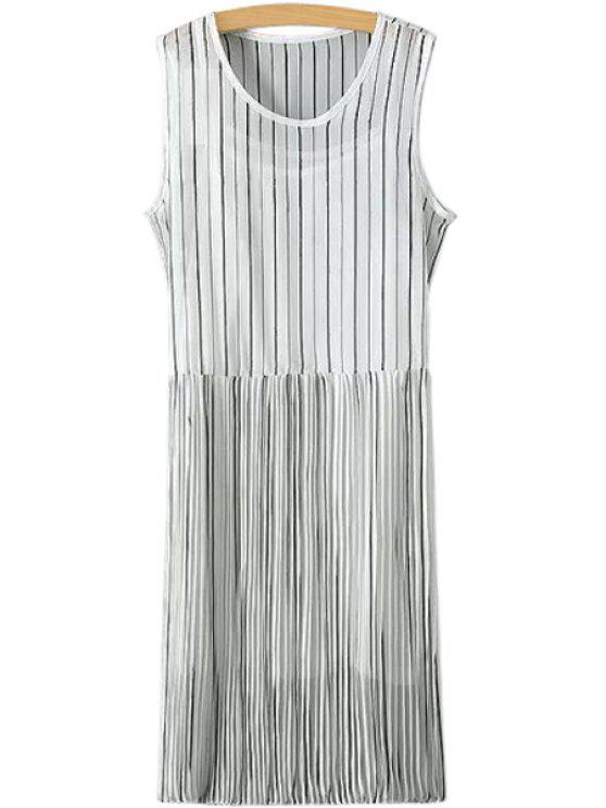 outfit Stripe Ruffle Sleeveless Dress + Tank Top - WHITE M