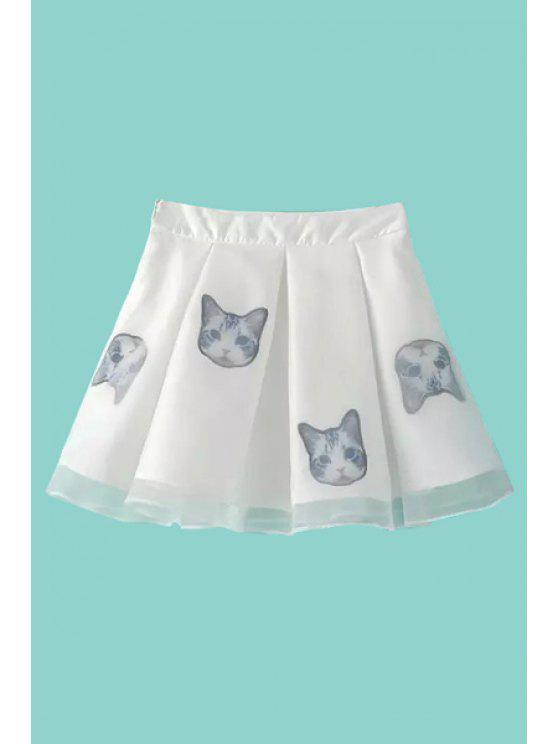 best Kitten Print Voile Spliced A-Line Skirt - WHITE S