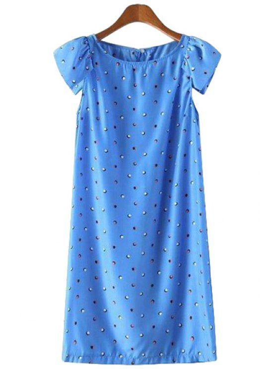 unique Polka Dot Short Sleeve Dress - LIGHT BLUE S