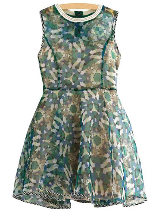 sale Geometric Print Stripe Sleeveless Dress - COLORMIX XS