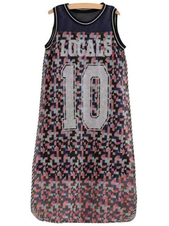 ladies Letter Colorful Print Sleeveless Dress - COLORMIX XS