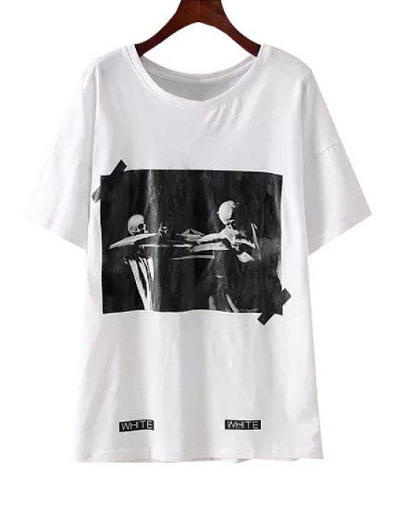 outfit Letter Skull Print Short Sleeve T-Shirt - WHITE S