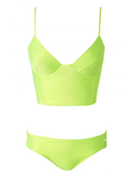Color sólido correas espaguetis Hollow Bikini Set - Verde de Neón L