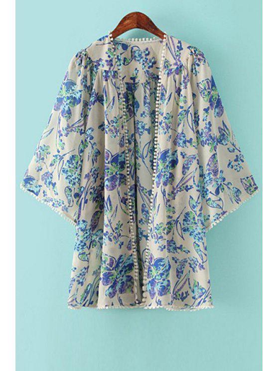 sale Floral 3/4 Sleeve Chiffon Kimono - BLUE S
