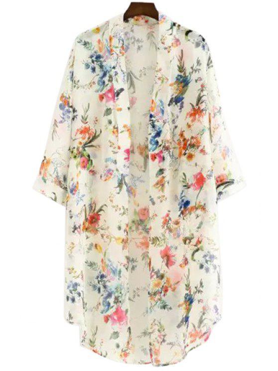 lady Full Floral Print Chiffon Blouse - WHITE M