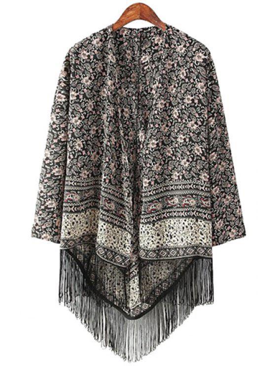 womens Floral Tassels Long Sleeve Kimono - BLACK S